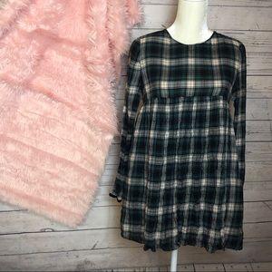Zara | Green Plaid Dress Romper